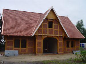 Holzrahmenhaus mit Fachwerk